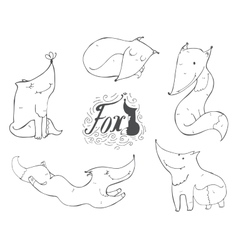 Black and white set of hand drawn cute foxes in vector