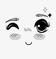 anime cute expression woman face vector image