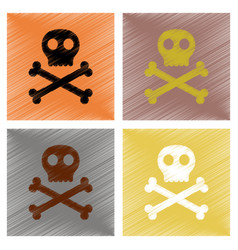 Assembly flat shading style icons halloween skull vector