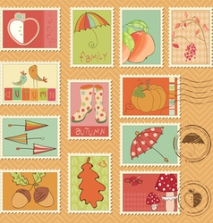 autumn stamps vector image vector image