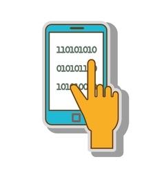 binary code smartphone technology vector image