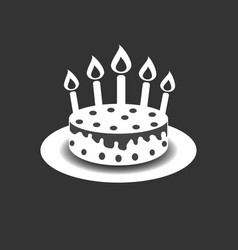 Birthday cake with burning candles pictogram icon vector