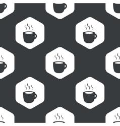 Black hexagon hot drink pattern vector image