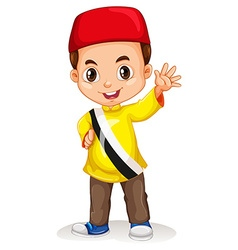 Brunei boy smiling and waving vector