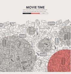 Cinema doodle website template design vector