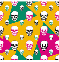 Colorful skulls print skull seamless pattern hand vector