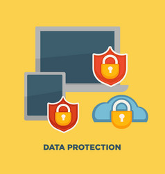 data protection folder lock on internet security vector image