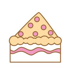 Delicious cake portion icon vector