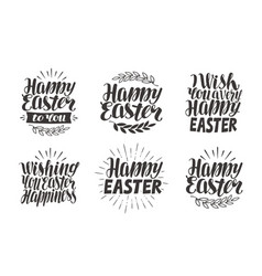 easter label greeting card celebration icons set vector image