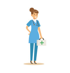 female doctor character in a blue uniform standing vector image vector image