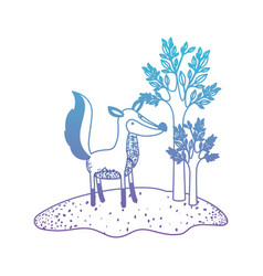 fox cartoon in forest next to the trees in vector image