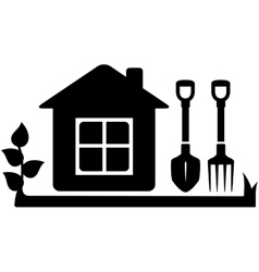 Gardening tools icon with garden house vector