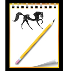 hand drawn horse in notebook vector image vector image