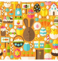 Happy Easter Holiday Flat Orange Seamless Pattern vector image vector image
