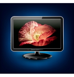 lcd plasma tv with beautiful poppy vector image vector image