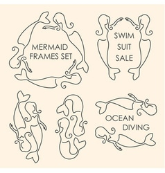 Line art mermaids logo set on beige background vector image