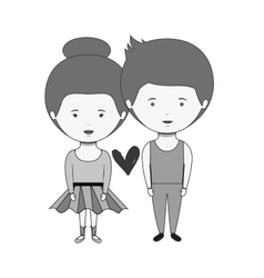 Monochrome couple dressed ballet costume in love vector