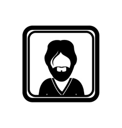 monochrome square with half body man with beard vector image vector image