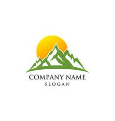 Mountain sun rise logo vector