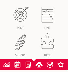 Puzzle graph charts and target icons vector