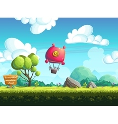 Seamless background blimp above the hills vector image vector image