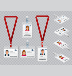 Set of employees identification white blank vector