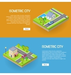 Set of isometric city web banners vector