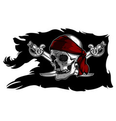 Skull and sabers on a pirate flag vector