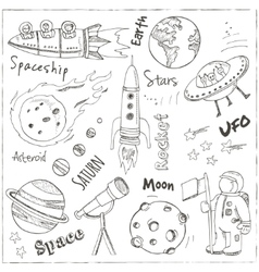 Space hand drawn doodles Stars planet and space vector image