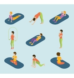 Sports women yoga gym gymnastics workout exercise vector