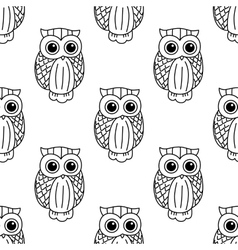 Vintage cute black owls seamless pattern vector image