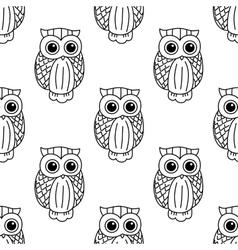 Vintage cute black owls seamless pattern vector