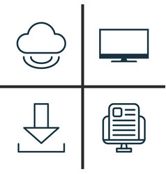 Web icons set collection of down arrow blog page vector