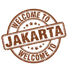 Welcome to jakarta brown round vintage stamp vector