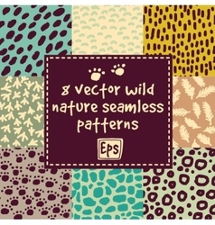 Wild nature seamless patterns set vector image vector image