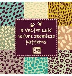 Wild nature seamless patterns set vector image