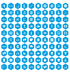 100 men health icons set blue vector