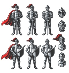 Set of color knights vector image