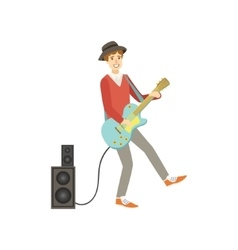 Guy playing electro guitar creative person vector