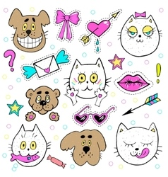 Fashion patch badges with kitten puppy teddy vector