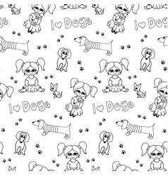 black and white seamless pattern with kids vector image
