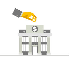 Facade of a bank building with columns and hand vector