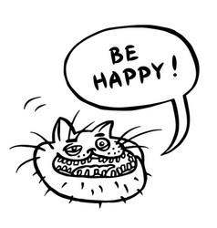 Be happy cartoon cat head vector