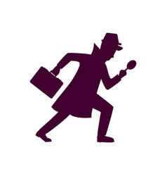 Silhouette of detective character design vector