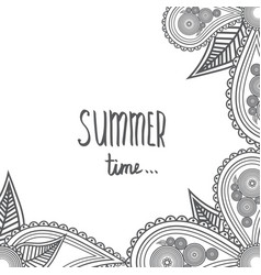 Summer time - hand drawn brush text handmade vector