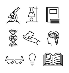 Modern line science knowledge study icons and vector