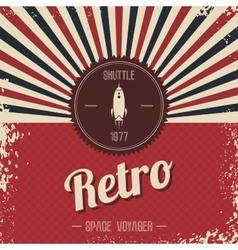 retro space rocket template theme vector image