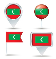 Map pins with flag of maldives vector