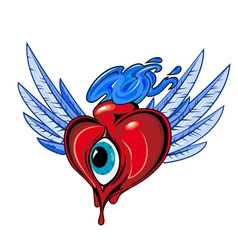 heart with eye tattoo design vector image