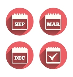 Calendar icons september march december vector